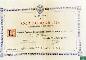 ANNA REBECA MEZQUITA JOCS FLORALS 1954