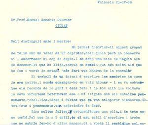 Carta a Sanchis Guarner