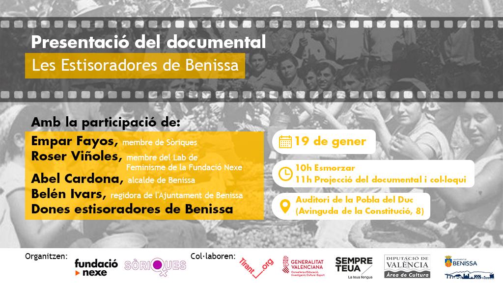 """Gènere i identitat, """"Les estisoradores de Benissa"""" a la Pobla del Duc amb la Fundació Nexe i Sòriques"""